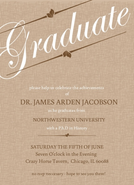 Graduation open house invitation wording ideas college high school brown linen graduation invitation stopboris Choice Image